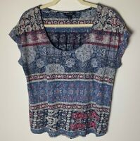 Lucky Brand Women's Top Size Large Short Sleeves Casual Cotton Blend Blue Pink