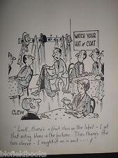 """CLIFFORD C LEWIS """"CLEW"""" Original Pen & Ink Cartoon - Watch Your Hat & Coat #272"""