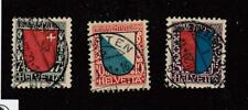SWITZERLAND # B15-B17 VF-USED SEMI-POSTALS CAT VALUE $60.50