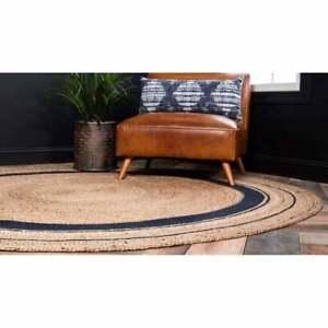 Rug Round 100%Natural Jute Handmade 2x2 Feet Floor Area Carpet Modern Living Rug