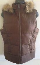 😍 Aeropostale Women's Puffer Vest Hooded Jacket Brown Sz M Excellent Condition