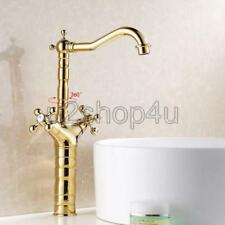 Luxury Gold Color Brass Swivel Kitchen Sink Faucet Mixer Basin Tap Usf094