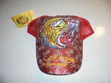 DOEADULT RED ED HARDY TIGER/GLITTER SNAPBACK HAT - NWT