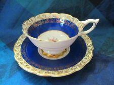 ROYAL STAFFORD, ENGLAND, BONE CHINA COBALT BLUE/GOLD CUP & SAUCER - VGC