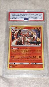 PSA 10 GEM MINT Charizard Holo Rare Pokemon Card Team Up Prerelease Promo SM158