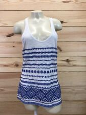 Sam Edelman Womens Shirts Medium White Blue Tulum Embroidered Sleeveless NWT B76