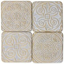 Coaster Set - Cream & Gold Geometric Patterned Design Drink Table Coasters x 4