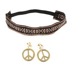 Hippie Headband Gold Peace Sign Earrings Set Women 60s 70s Costume Props