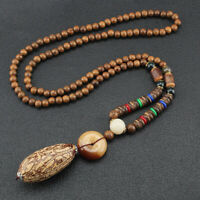 Necklace Beaded Pattern Bohemian Vintage Pendants Handmade Multi Wood Ethnic