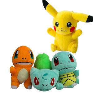 4pcs Pokemon Plush Soft Toys Pikachu Bulbasaur Squirtle Charmander Kids Gift UK