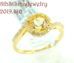 New with Tag Citrine & CZ 18K Gold over Sterling Silver 925 Ring Size 9