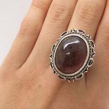 Vtg Poland Signed 925 Silver Real Large Amber Gem Handmade Wide Ring Size 8 3/4