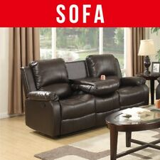 Soft Recliner 3 Seater Faux Leather Sofa Couch Seat in Brown With Drink Holder