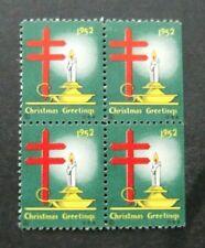 Us-1952-Block of 4 Christmas Seals-Mnh Cinderellas