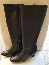 BRAND NEW!! Hunt Club BLACK LEATHER tall knee high BOOTS side zip - 9M