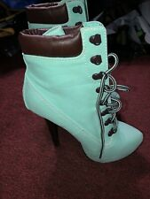 "Dollhouse Tyrant Platform Pump Womens Size 6.5 High Heels 5"" Lace up Green Aqua"