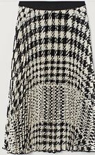 H&M Pleated Satin Skirt White Dogtooth  Patterned Size 8 New W Tag