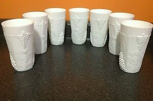 Set of 7 VINTAGE TALL MILK GLASS Colony Harvest CUPS TUMBLERS GRAPE & LEAF