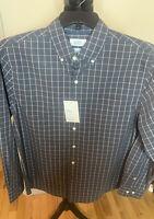 NWT- Croft & Barrow Button Up Shirt Mens MED Blue Plaid  Easy Care Long Sleeve
