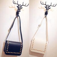 Womens Faux Leather Stud Tote Shopper Handbag Satchel Bag Shoulder Rivet