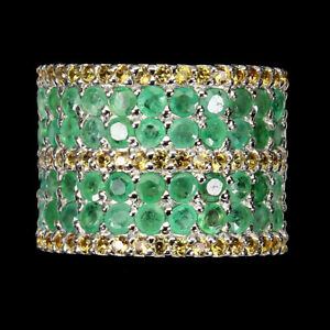 Unheated Round Emerald Sapphire Diamond Cut 925 Sterling Silver Ring Size 9