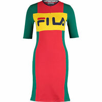 FILA Women's KIKI Bodycon Dress, Green / Yellow / Red, size XS S M