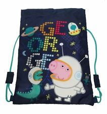 "Official George Peppa Pig ""Space"" Drawstring Library Swim Sports Gym Trainer Bag"