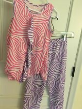 PINK AND PURPLE POLYESTER PAJAMA SET NEW ICM BRAND GIRLS TEEN SIZE 10