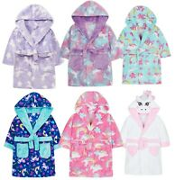 Girls Unicorn Print Hooded Dressing Gown Robe Soft Coral Fleece Various Designs