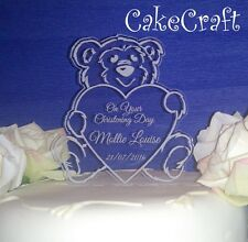 Christening/Baptism Engraved Acrylic Personalised Teddy cake toppers decoration