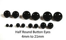 More details for solid black half round button eyes for teddy bear/animal soft toy making