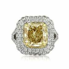Fabulous 6 CT Fancy Yellow Radiant & Round Cut CZ Anniversary Ring IN 925 Silver