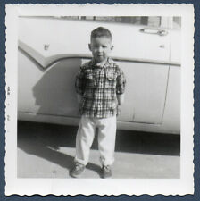 1955 Ford Chrome Little Boy Stands Next To Dad's New Car? VINTAGE Photo SNAPSHOT