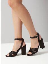 New Look - Black Satin Cross Strap Sandals - Size 7 - BNWT