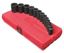 Sunex 12pc 3/8 SAE 12pt Point Semi Deep Impact Sockets Set Tools Drive INCH 3337