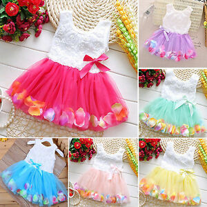 Baby Girls Flower Lace Pageant Princess Dress Party Wedding Tutu Tulle Dresses