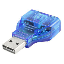Blue Mouse Keyboard USB A Male to Dual PS/2 Female Connector Adapter BT