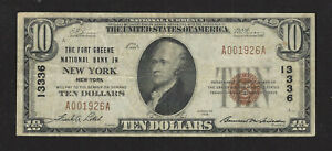 Fort Green, NY, Ch #13336, 1929, $10.00 Type -1, Very Fine +, 25 Notes Reported!