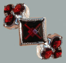 Size 7,5 Bohemian Rose Cut Garnet Sterling Silver Ring SR-507