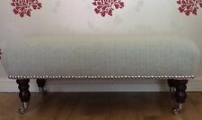 Footstool Stool In Laura Ashley Ettienne Duck Egg Fabric