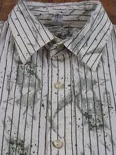 Mens XL TERRA NOSTRA Paint Splatter Striped L/S Buttonfront Shirt