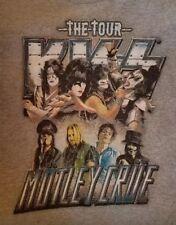 KISS & MOTLEY CRUE 2012 TOUR CONCERT T-SHIRT PREOWNED RARE GREY LARGE  *READ ALL