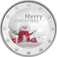 2 Euro Gedenkmünze mit Schneeman  coloriert Farbe / Farbmünze / Weihnachten