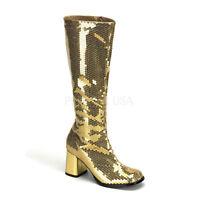 "Bordello 3"" Block Heel Burlesque Gold Sequin Knee High Boots Glam 6 7 8 9 10 11"