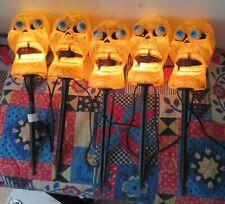 Set Of 5 Halloween Skull Light Stake Outdoor Yard Decor Pathway Markers