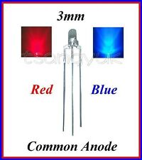 50 Red/Blue 3mm 3 Pins Common Anode LEDs Bulb
