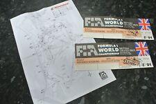 VIntage 1991 FORMULA 1 WORLD CHAMPIONSHIP Grand Prix Tickets at Silverstone