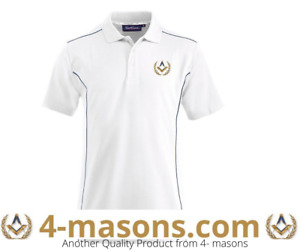 Quality white masonic Freemason polo embroidered with square and compass design