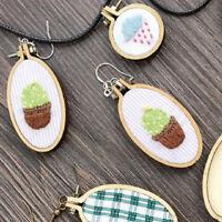DIY Ellipse Mini Wooden Cross Stitch Embroidery Hoop Ring Frame Machine Fixed Yf