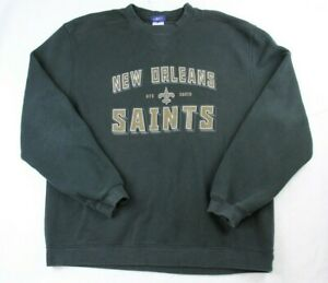 Vntg Reebok New Orleans Saints Black Sweater Sweatshirt Large Football Sports